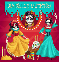 dia des los muertos party mexican dead skeletons vector image