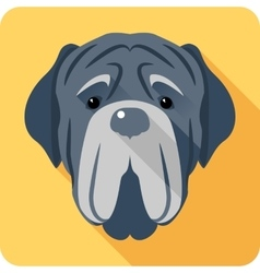Dog Neapolitan Mastiff icon head flat design vector
