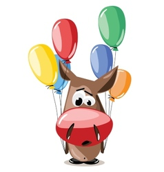 Donkey with balloons vector