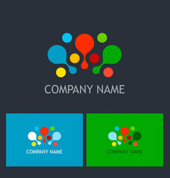 dot colorful connect logo vector image