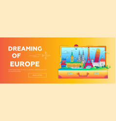 Dreaming of europe - flat design web banner with vector