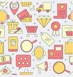 electronic commerce seamless pattern in line style vector image