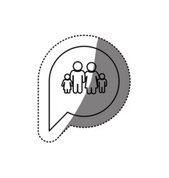 Figure family inside chat bubble vector