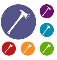 firefighter axe icons set vector image