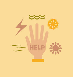 flat icon on stylish background hand disasters vector image