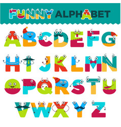 Funny alphabet of cartoon characters font vector