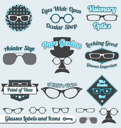 Glasses Labels and Icons vector