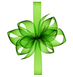 Green transparent bow and ribbon on background vector