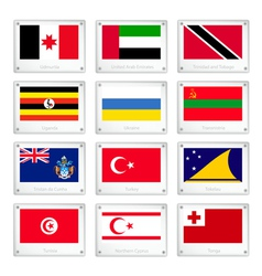 Group of countries flags on metal texture plates vector