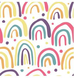 Hand drawn rainbows seamless pattern polka dot vector