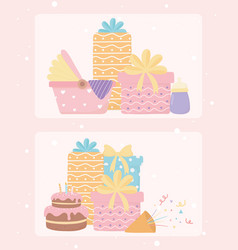 happy birthday and bashower gifts cake confetti vector image