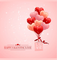 happy valentines day background red pink and vector image