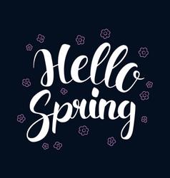 hello spring calligraphy season banner design vector image