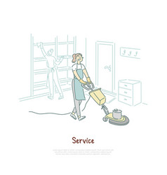 housekeeping service female housekeeper cleaning vector image