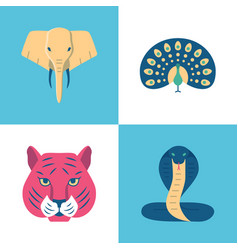 india sacred animals icons set in flat style vector image