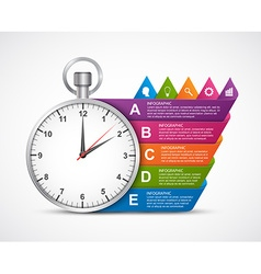 Infographics design template Clock with colored vector image