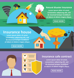 insurance safe banner horizontal set flat style vector image