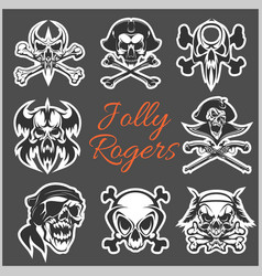 jolly roger symbols - set on dark vector image