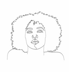 line art woman face drawing black woman afro vector image