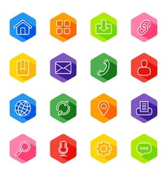 line web icon set on colorful hexagon vector image