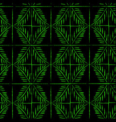 Linocut green palm twig seamless pattern vector