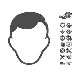 Man Face Template Icon With Tools Bonus vector