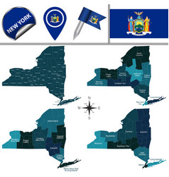 Map new york with regions vector