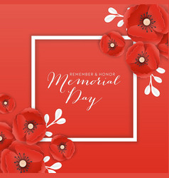 memorial day banner with paper cut poppy flowers vector image