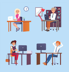 Men and women working at tables with computer vector