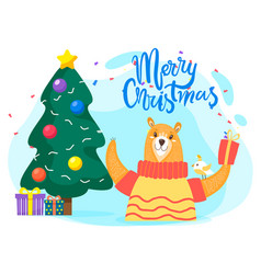 Merry christmas greeting card with wishes vector