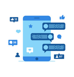 mobile phone display with chatting app vector image