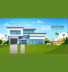 Modern cottage house exterior villa building vector