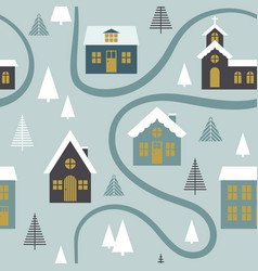 modern seamless childish pattern with cute houses vector image