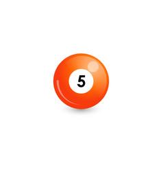 Orange billiard ball number 5 vector