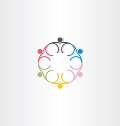 People circle color icon line symbol vector