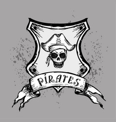 pirate emblem or design element hand drawing vector image