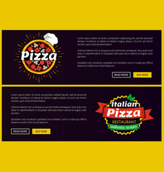 Pizza and italian recipes set vector