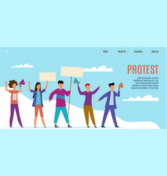 protest landing page protesting activists with vector image