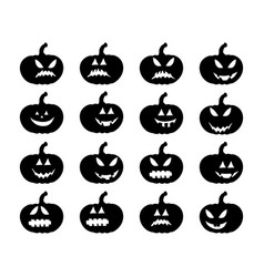 pumpkin smile silhouette set symbol icon design vector image