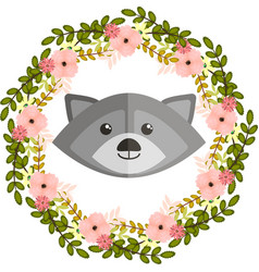 Raccoon and floral wreath vector