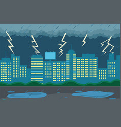 rainy weather in city at night dark clouds vector image