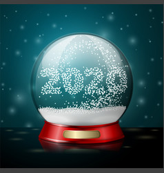 realistic 3d crystal ball with snowflakes vector image