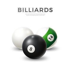 realistic billiard snooker pool balls set vector image