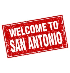 San antonio red square grunge welcome to stamp vector
