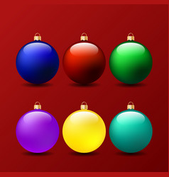 set of christmas balls on a red background vector image