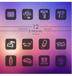 Set of e-money icons vector