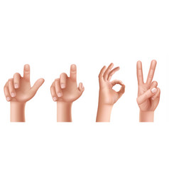 Set of hand gestures with a raised finger up vector