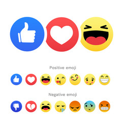 set positive and negative round emoji icons vector image