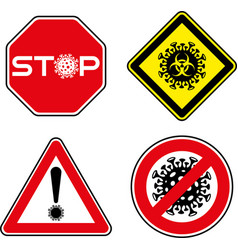 set roadsigns with corona virus symbol vector image