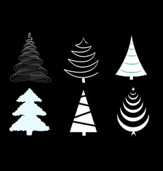 set six different christmas trees isolated on vector image